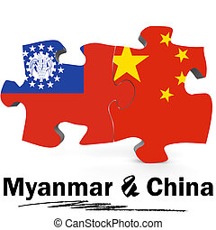 China and Myanmar flags in puzzle