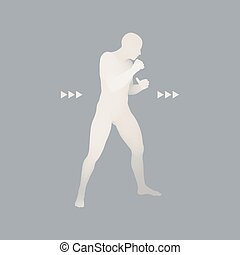 Boxer. 3D Model of Man. Human Body. Sport Symbol. Design...