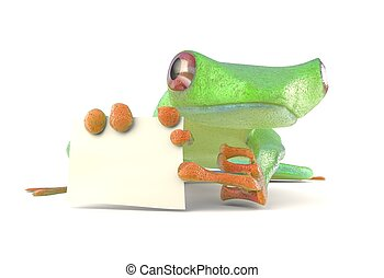 Green tree red eye frog with a blank sign pointing by toe 3d...