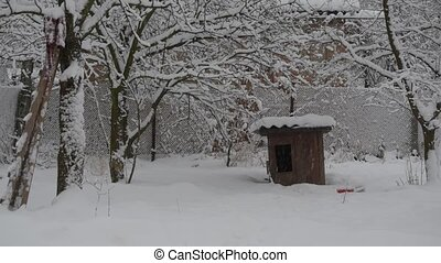 Snow falling on background of wooden kennel