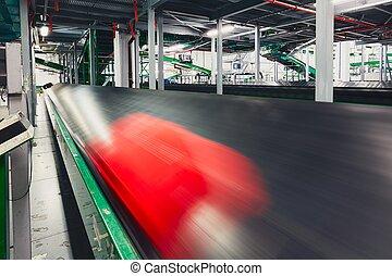 Baggage on conveyor belt - Luggage sorting. Baggage on...