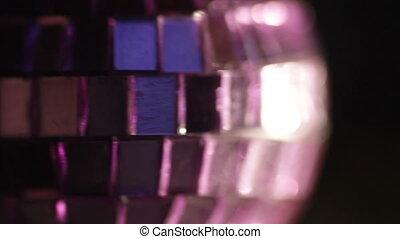 Purple disco ball close-up - Purple disco ball in studio...