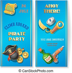 Pirate party cartoon invitation card or banners