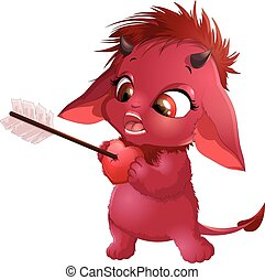 cute red devil with the subject on a white background