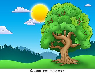 Green leafy tree in landscape - color illustration.
