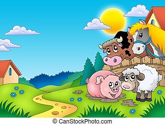 Landscape with various farm animals - color illustration