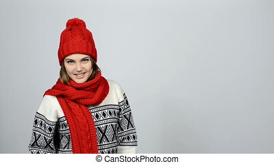 Winter girl portrait - Half lenth portrait with copy space...