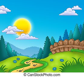 Country landscape with Sun - color illustration
