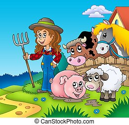 Country girl with farm animals - color illustration.
