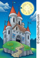 Night view on big castle on hill - color illustration.