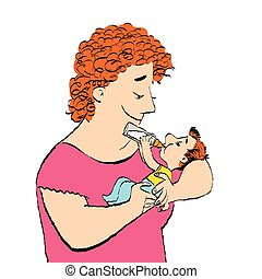 Joyful woman feeds the baby milk from a bottle