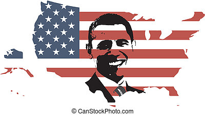 Obama and USA flag - Barack Obama with USA FLAG INSIDE MAP -...