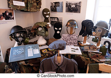 The collection of weapons and equipment used during the war...