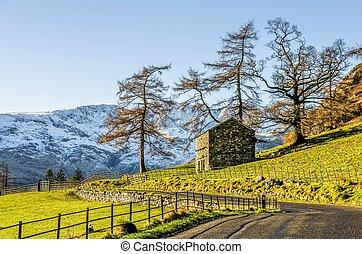 Hillside of Langdale, English Lake District, UK - Small hut...
