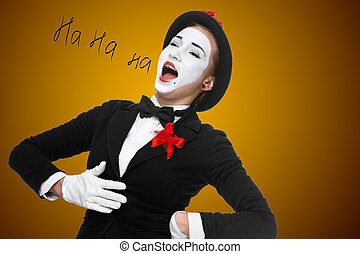 Portrait of the surprised and joyful mime with open mouth -...