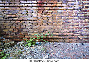 wall - wide angle view of an old wall abandoned factory...