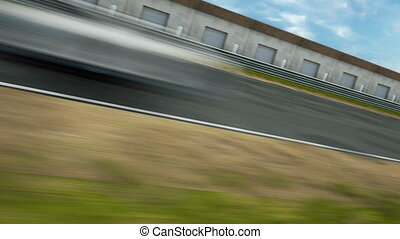 Fly over race track seamless loop 3d animation