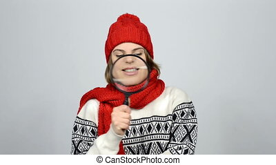 Searching winter woman. Girl wearing warm winter red knitted...