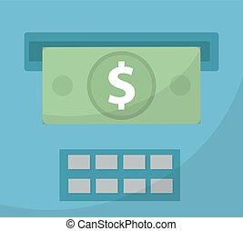 ATM gives out money icon, cashouts flat design, isolated on...