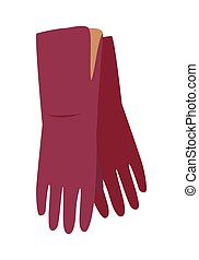 Leather Gloves Vector Illustration in Flat Design - Long...