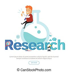 research conceptual vector banner in flat design - Web Researcher