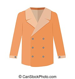 Warm Orange Men s Coat Flat Design Vector