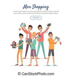 Man Shopping Conceptual Flat Vector Web Banner