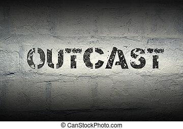 outcast word gr - outcast word stencil print on the grunge...