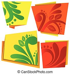 Vector banner set with floral elements.