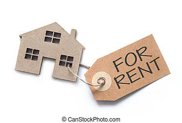 House shape with rental label - Label attached to miniature...