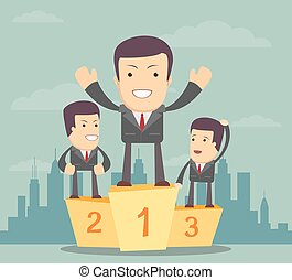 Business people stand on the podium