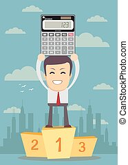 winner standing in first place on a podium with calculator