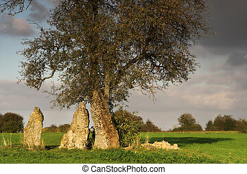 Druid place - Three great menhirs surrounding a solitary...