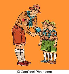 scoutmaster shows little insect to young scouts. Pop art...