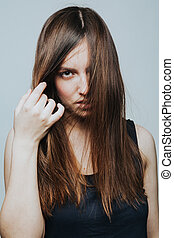 Portrait of young female posing - Studio shot of young...