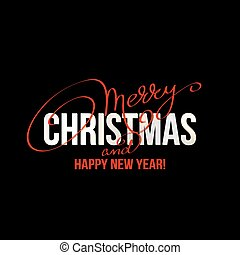Merry Christmas Lettering Design on black background. Vector...