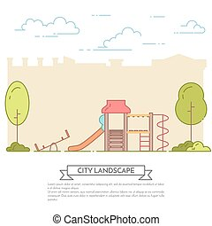 City landscape with playground in central park Line art