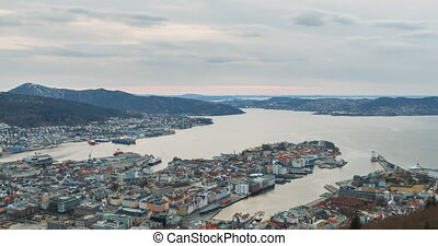 Sunset over the city. Bergen, Norway. Zoom. TimeLapse.