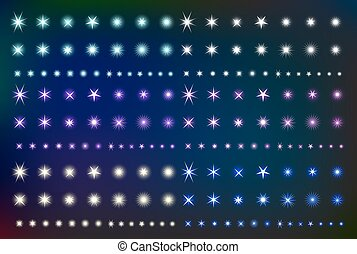 Set Glowing Light Effect Stars. Collection of various shining forms  sparks. Kit glittering element. Vector illustration