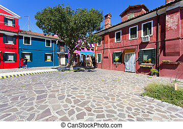 Burano island, Venice, Italy - Burano island with...