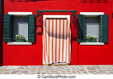 Burano island, Venice, Italy - Picturesque windows with...