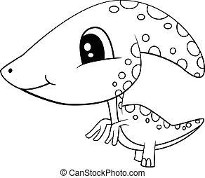 Cute Black and White Cartoon  Baby Parasaurolophus Dinosaur