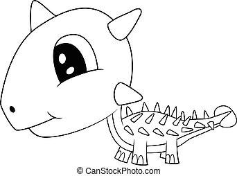 Cute Black and White Cartoon  Baby Ankylosaurus Dinosaur