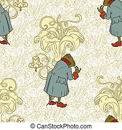 Fairy background. Seamless pattern. Frog in jacket.