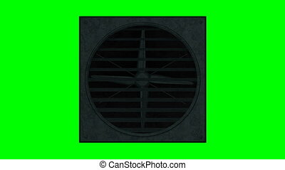 Industrial ventilator looped on green screen 3d illustration...