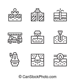 Set line icons of water bore