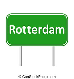 Rotterdam road sign. - Rotterdam road sign isolated on white...