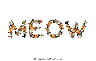 Meow sign text. Letters of cats. Pet font. home Animals...