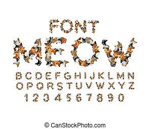 Meow font. Cat alphabet. catlike ABC. letters of Pet. Pets...