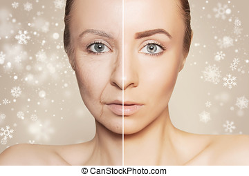revitalization concept face before and after - tow halves of...